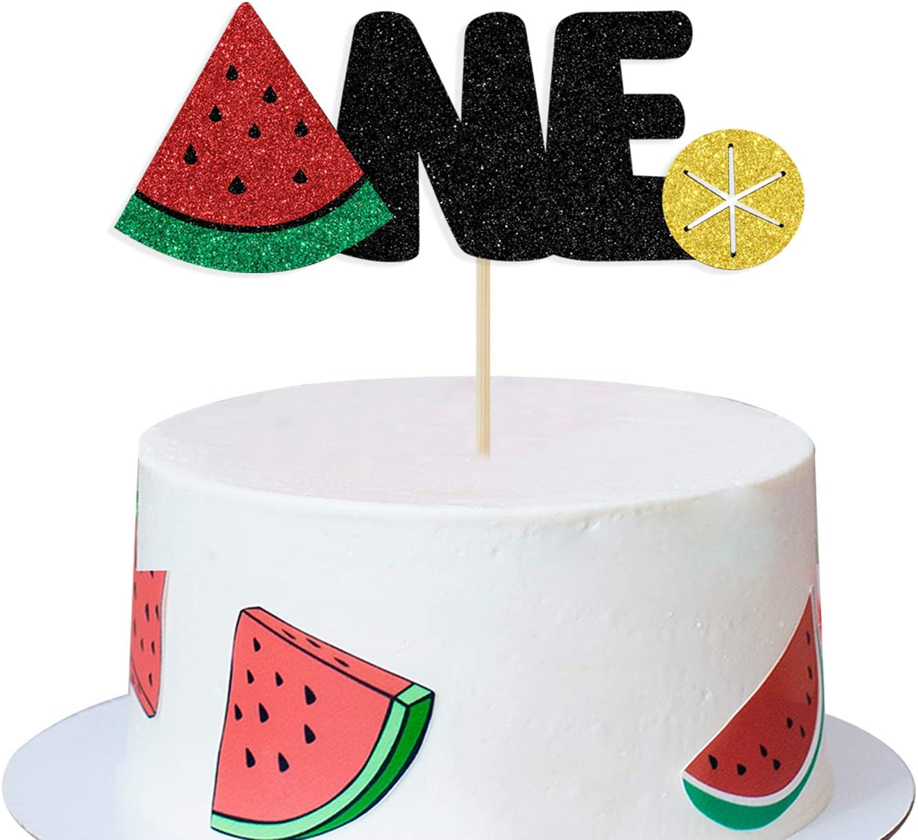 Frutti One Cake Topper, Happy 1st Birthday, First Anniversary Decoration, Decor Summer Tropical Fruit Watermelon Themed, First Birthday Party Supplies Decorations
