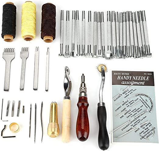 Kit de grabado en piel, juego de 48 herramientas de marroquinería ...