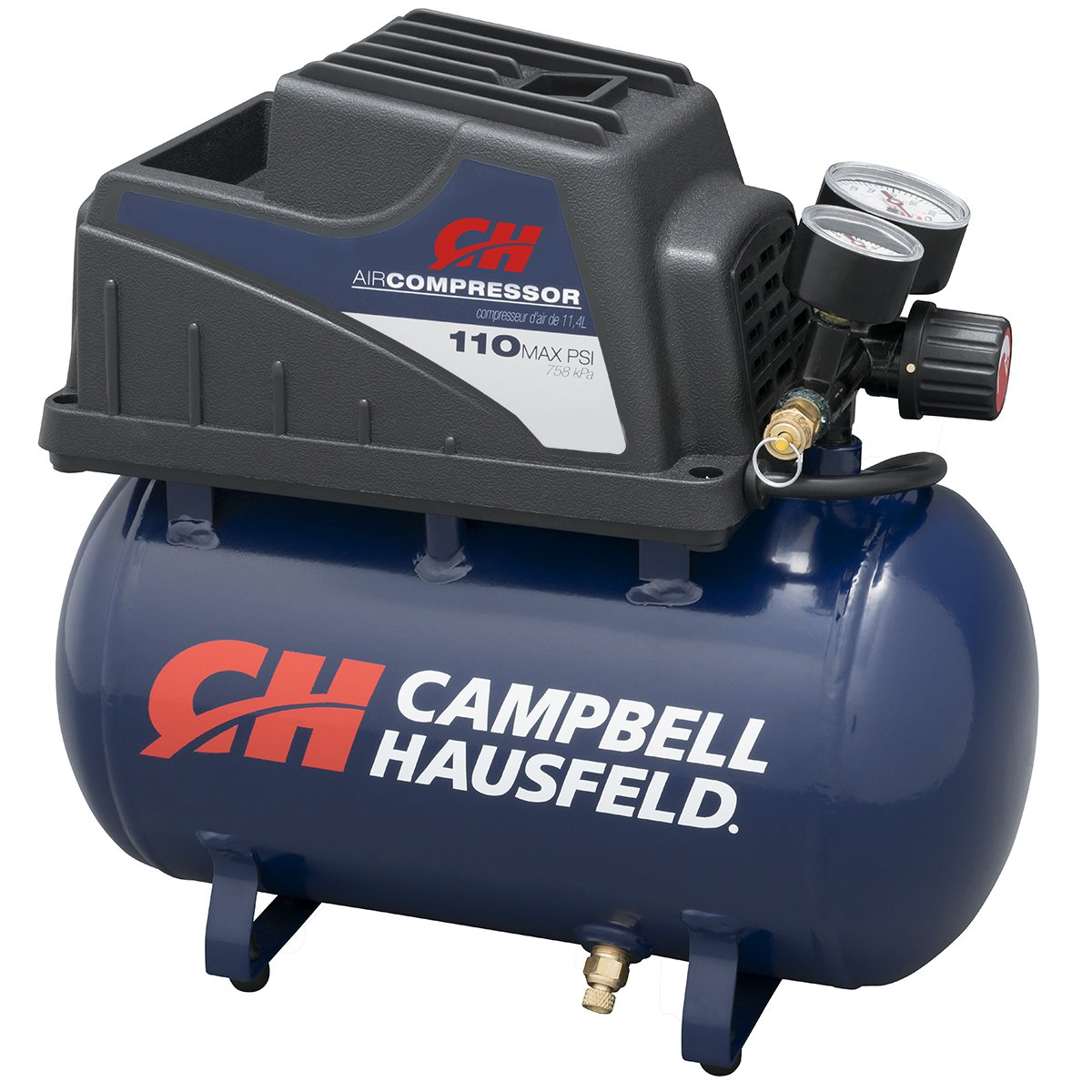 Portable Air Compressor, 2-Gallon Hot Dog Tank, Oilless with Air Hose and Inflation Kit (Campbell Hausfeld FP209000AV) by Campbell Hausfeld