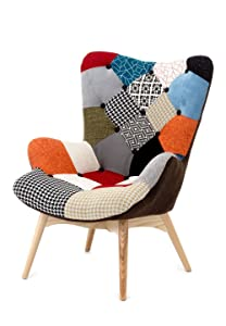 Fashion Commerce Patchwork Fauteuil, Bois, Multicolore, 70 x 78 x 96 cm