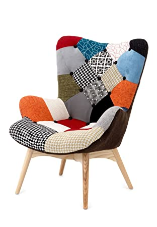 Fashion merce Patchwork Fauteuil bois multicolore 70 x 78 x 96
