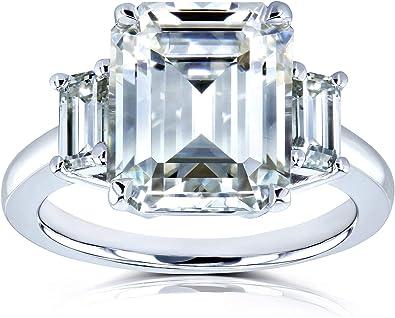 Kobelli 5 1 2 Carat Tgw Three Stone Emerald Cut Moissanite Statement Engagement Ring In 14k White Gold Amazon Com