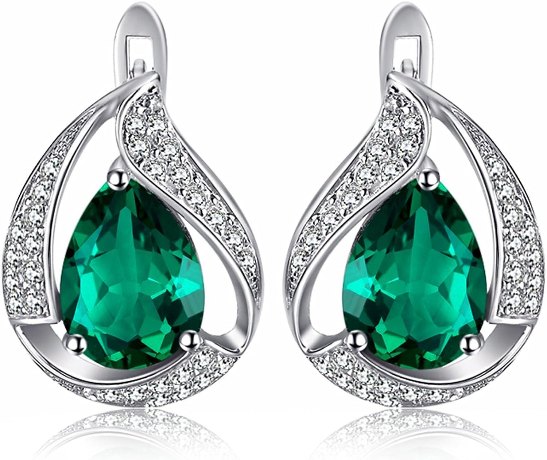 JewelryPalace Pendientes Sólido de Aro 3.7ct Nano Rusa Imitado Esmeralda en Forma de Pera plata de ley 925