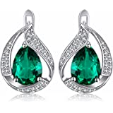 Jewelrypalace 3.4ct Luxus Grün Simulierte Nano Russischen Smaragd Ohrstecker Ohrring 925 Sterlingsilber