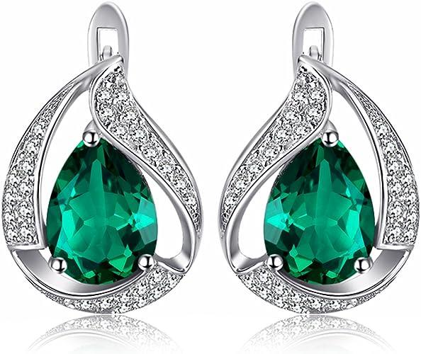 Fashion Jewelry Lady Poire Cut Vert émeraude Blanc Plaqué Or Goutte Boucles d/'oreilles Clou