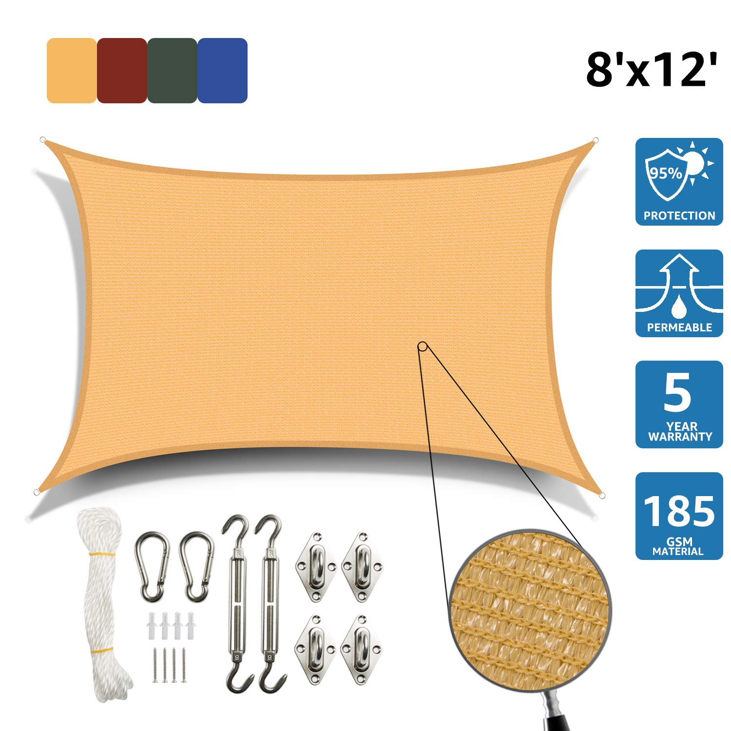 SunnyJoy Rectangle 8'x12' Sun Shade Sail with Stainless Steel Hardware Kit, Perfect for Outdoor Patio Garden, Sand by SunnyJoy