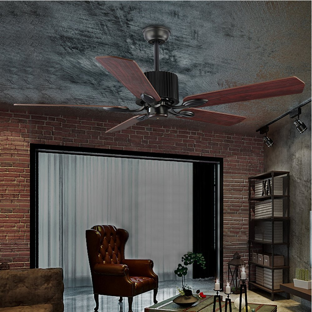 BAYCHEER Industrial Wrought Iron Style Fan Semi Flush Ceiling Light Hanging Lamp with Fans and cage for Indoor Bar Warehouse Hallway Use 5 E26 Bulbs through remote control HL449148