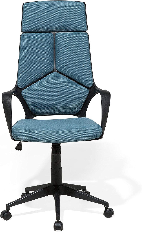 Beliani Chaise de Bureau Noire et Bleu Delight