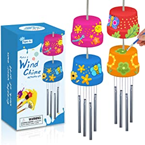 2-Pack Make A Wind Chime Kits - Arts & Crafts Construct & Paint Wind Powered Musical Chime DIY Gift for Kids, Boys & Girls