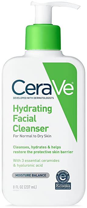 CeraVe Hydrating Facial Cleanser 8 Fl oz for Daily Face Washing, Dry to Normal Skin