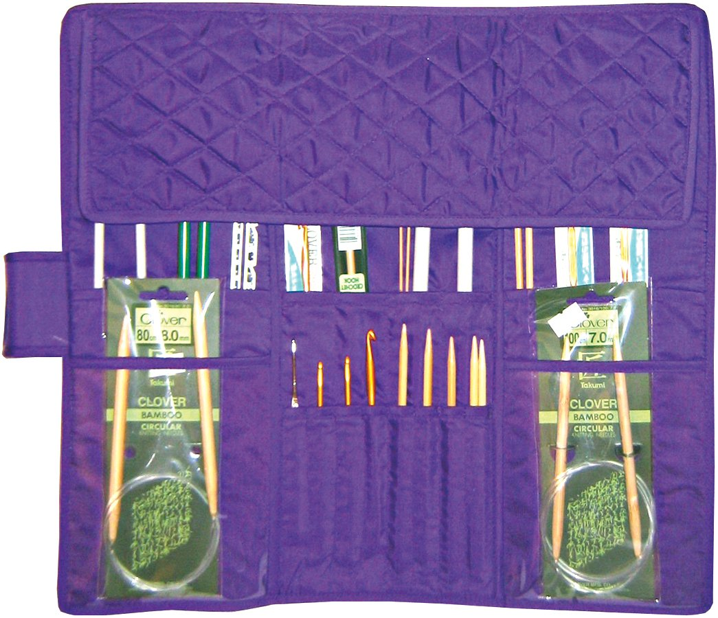 Yazzii Quilted Cotton Knitting Needle Case, Purple Notions - In Network CA190-PU