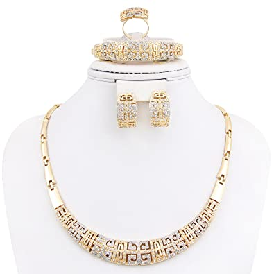 Amazoncom Fashion Jewelry Set Women 18k Gold Plated Necklace