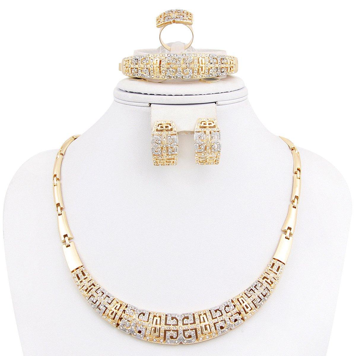 Fashion Jewelry Set Women 18k Gold Plated Necklace Bracelet Earrings Present Set by NYKKOLA