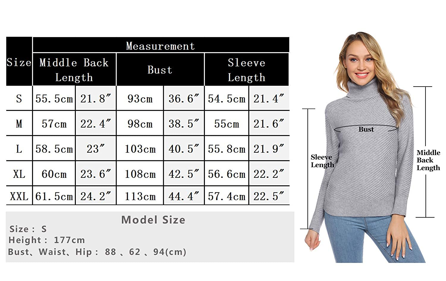 Aibrou Womens Long Sleeve Lightweight Soft Knit Turtleneck Sweater Pullover Top