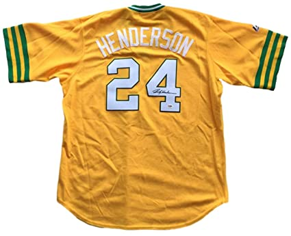 aa6dfacd4 Rickey Henderson Signed Oakland Athletics Replica Cooperstown ...
