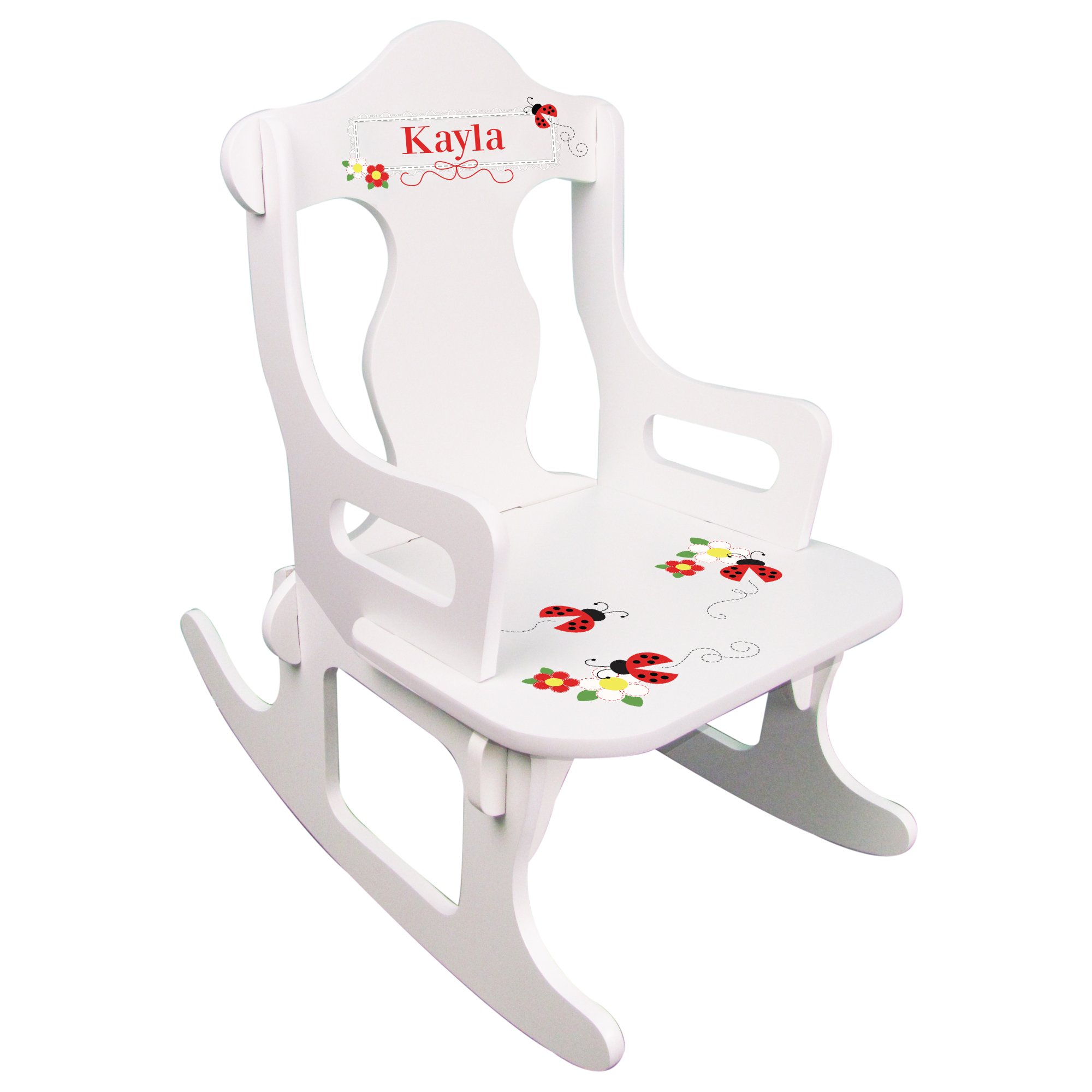 Personalized Child's Red Ladybug Puzzle Rocking Chair