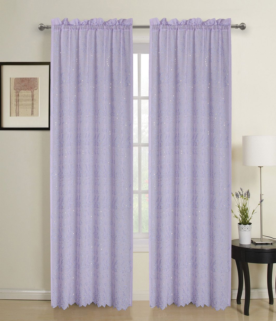 Cute Sheer Decorative Sparkle Lavender Blinds - 84 Inch - Window Treatments For Girls Bedroom ...