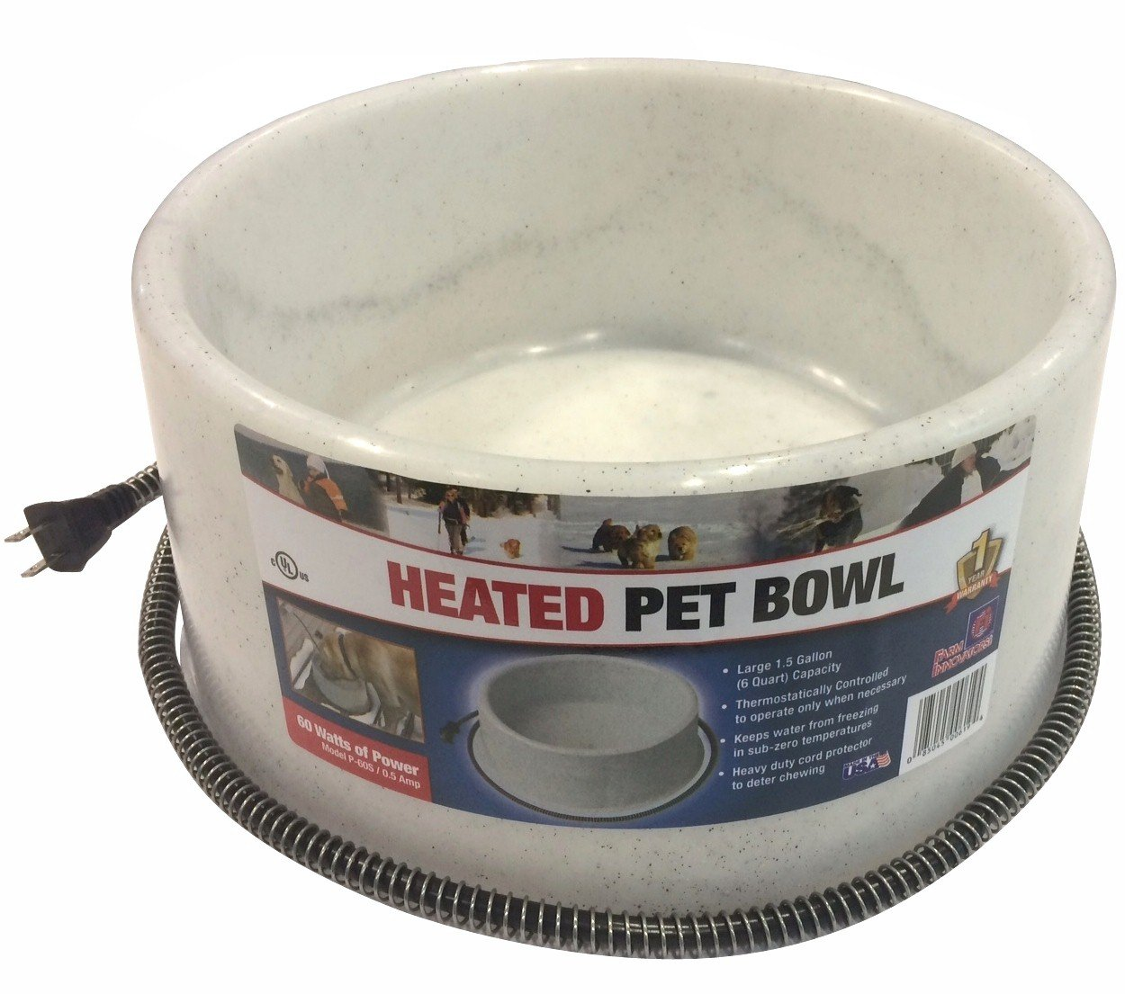 Farm Innovators Model P-60S 1-1/2-Gallon Round Heated Pet Bowl, Grey, 60-Watt