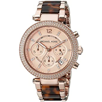 1e9e280b83cf Amazon.com  Michael Women s Watch Parker Brown Crystal-Accented ...