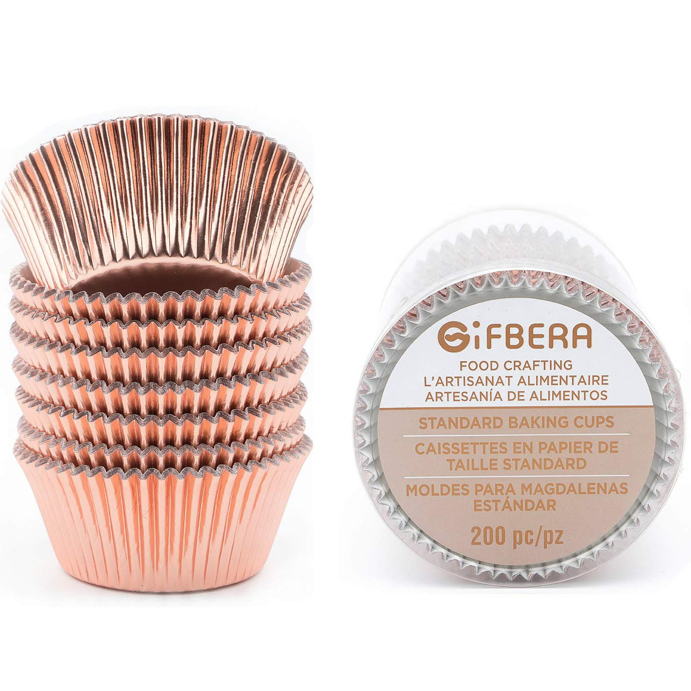 Gifbera Standard Rose Gold Foil Cupcake Liners/Baking Cups 200-Count