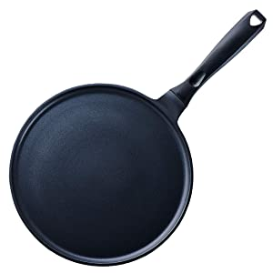 Crepe Pan Nonstick Die-cast Aluminum Non-stick Induction Compatible Flat Tawa Griddle,11 Inches by S.KITCHN
