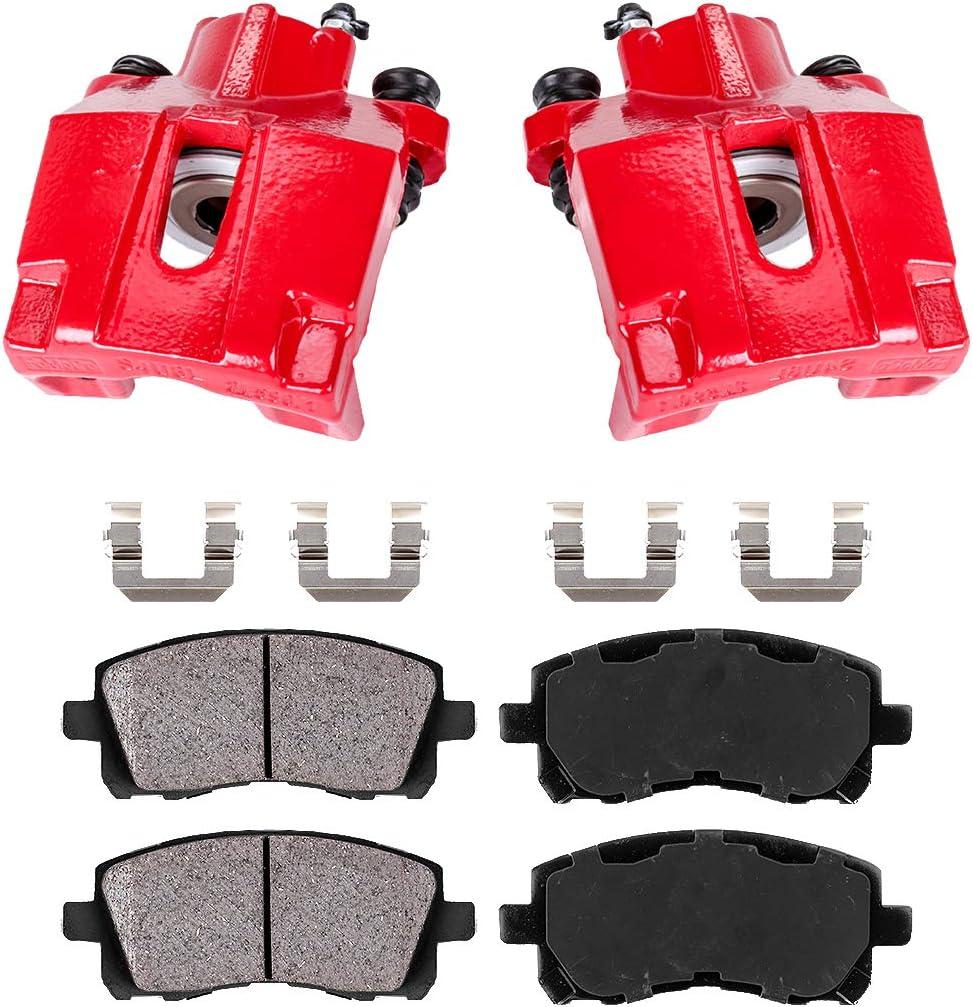 REAR Premium Red Coated Caliper Pair Ceramic Brake Pads Hardware Kit 2 Callahan CCK03870