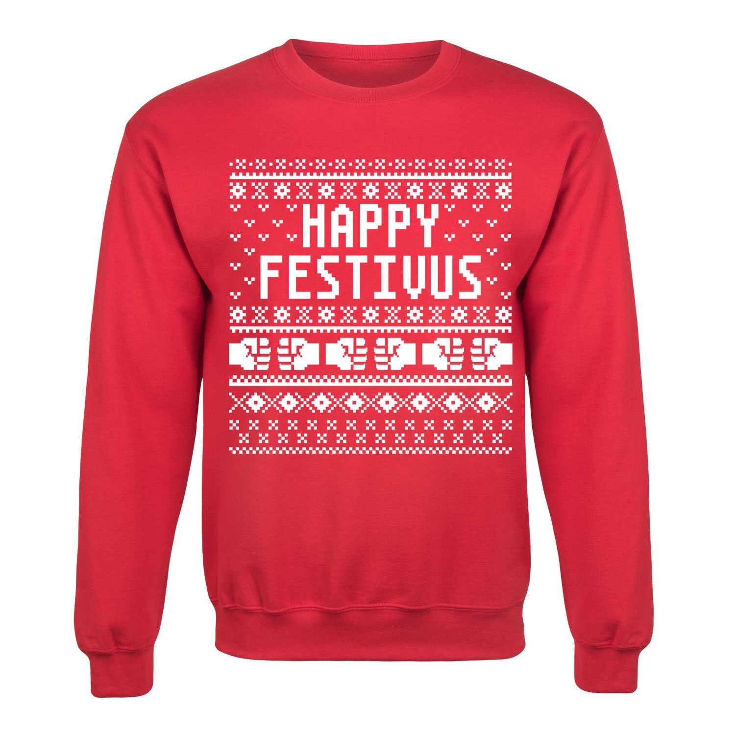 Air Waves Happy Festivus-Mens Crew Fleece Pullover