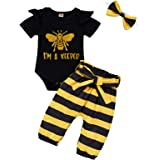 Infant Baby Girl Bumble Bee Clothes Letter Print Romper Honey Bees Pants Bowknot Headband Outfits Set