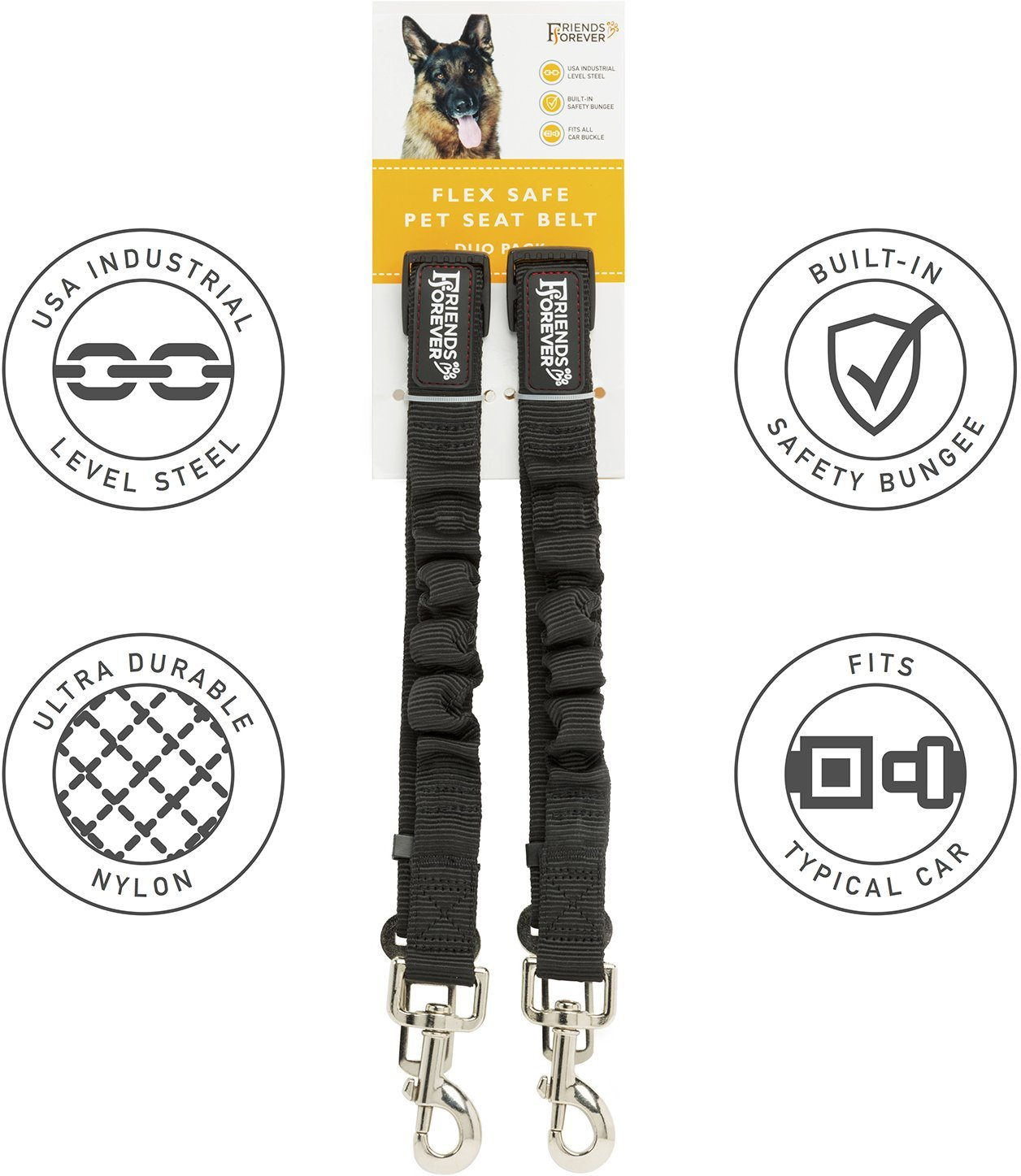 Friends Forever 2-Pack Adjustable Bungee Elastic Black Nylon Pet Seat-belt & Car Lead Tether for Dogs and Cats