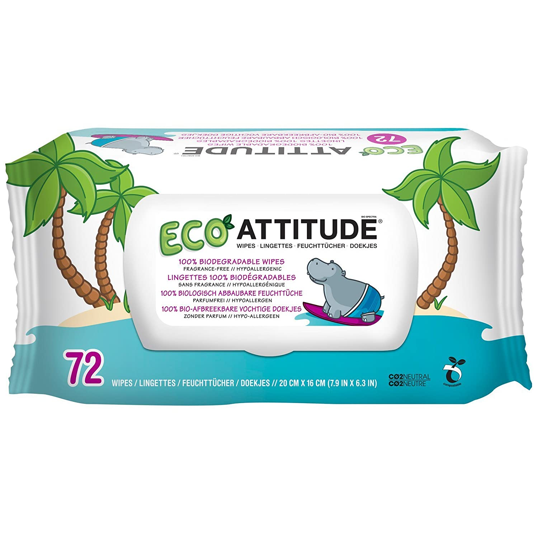 ATTITUDE, Eco-Baby Toallitas, 100% biodegradables y paños sin perfume, 72 626232170009