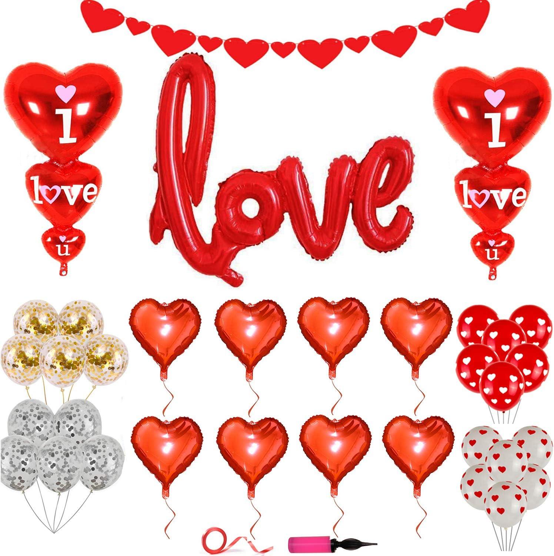 Kit de decoraciones para el día de San Valentín: juego de decoración de 34 piezas de globos de amor rojos, globos de corazón, globos de papel de aluminio, globos de látex con bomba, decoración