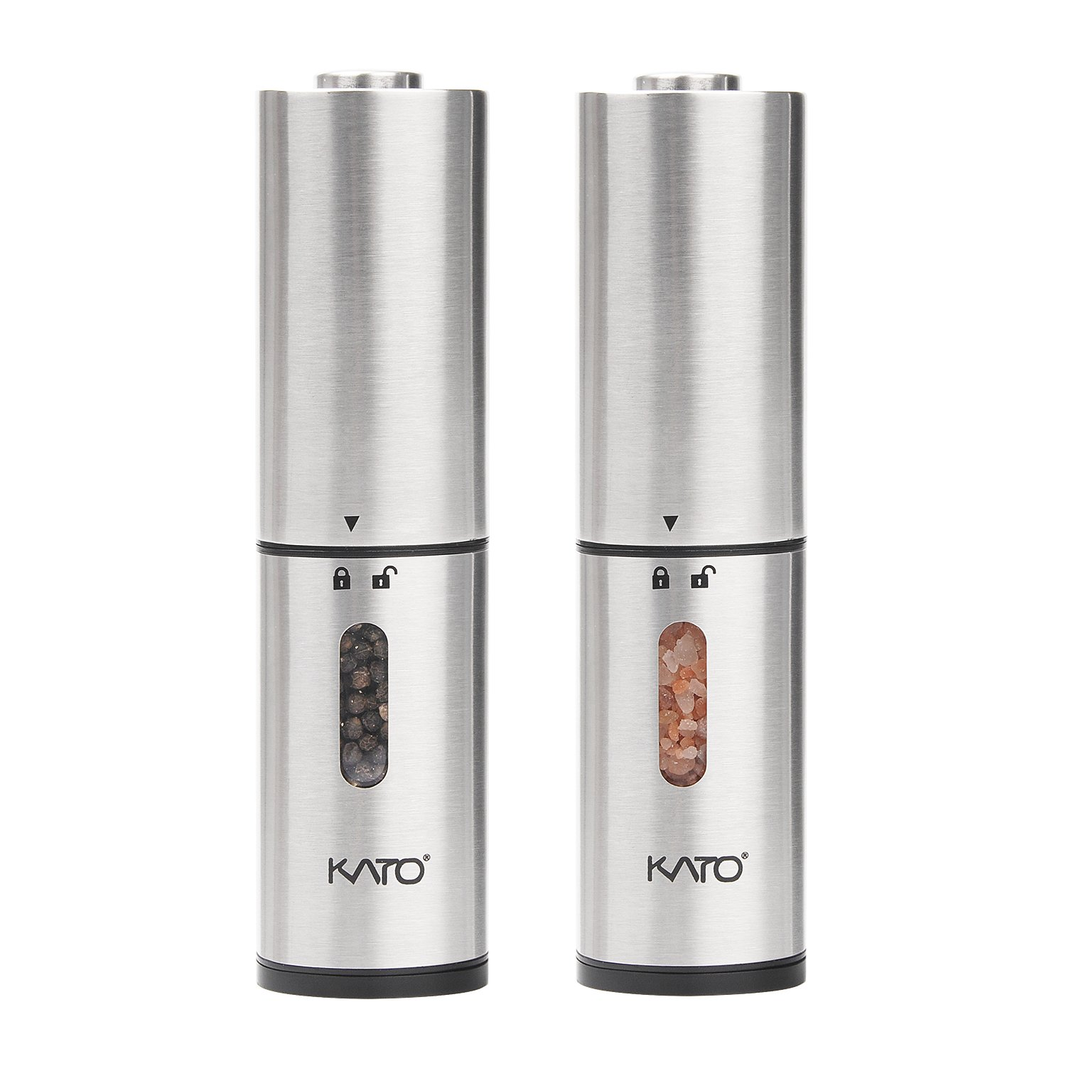 Kato Electric Salt and Pepper Grinders Set - Battery Operated, Stainless Steel, Automatic Pepper Shaker Mill with Led Light and Adjustable Coarseness for Flavor & Seasoning, Pack of 2 by Kato