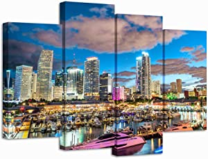 Nachic Wall 4 Pieces City Canvas Wall Art Miami Night Skyline Picture Canvas Print Florida Cityscape Poster Painting Canvas Modern Living Room Bedroom Decor Framed Ready to Hang