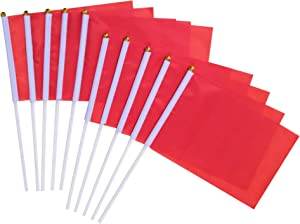 Red Stick Flag, 50 Pack Hand Held Small Red Flags On Stick,Perfect Decorations Themed Party,Sports Clubs,Festival Events