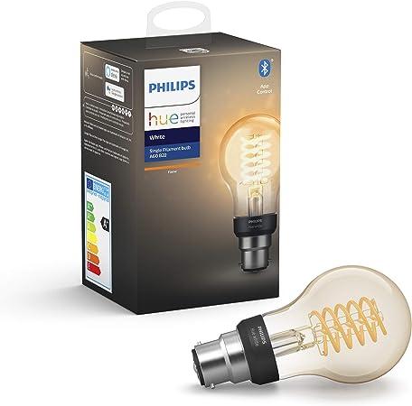 Philips Hue Bombilla Inteligente LED B22, con Bluetooth, Filamento A60, Luz Blanca Cálida, Posib...