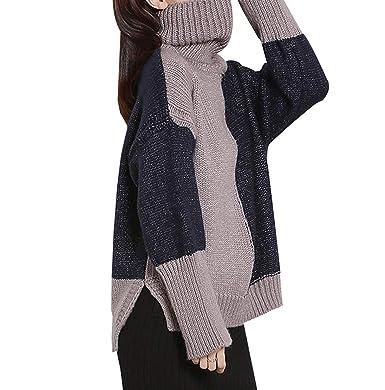 6c5ccf050 Jersey Mujer Elegantes Moda Sweater Otoño Invierno Manga Larga Cuello Alto  Bicolor Abierto Anchos Casual Camisas Jerseys Jerseys Lana Sudaderas Cómodo  ...
