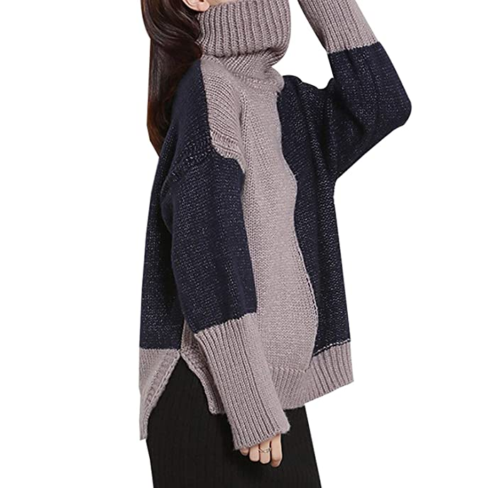Jersey Mujer Elegantes Sweater Otoño Invierno Manga Larga Cuello Alto Mode De Marca Bicolor Anchos Casual Abierto Camisas Jerseys Jerseys Lana Sudaderas ...