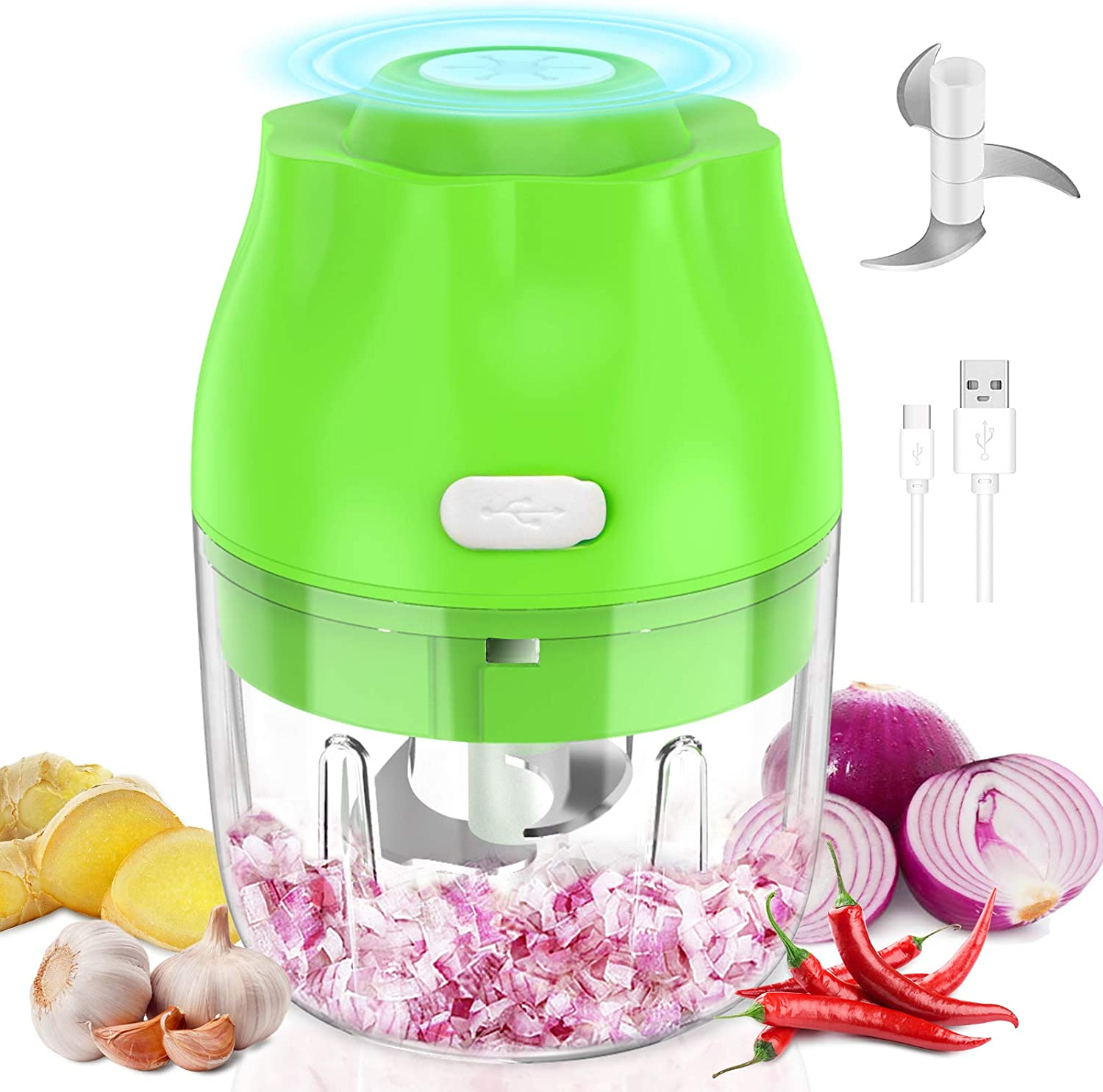 Electric Mini Garlic Chopper, Synmixx Portable Mini Food Chopper Vegetable Slicer Meat Grinder with Type-C Charge Port, 2 Blades, Garlic Blender with for Chopping Garlic/Onions/Chili/Ginger(250 ml)