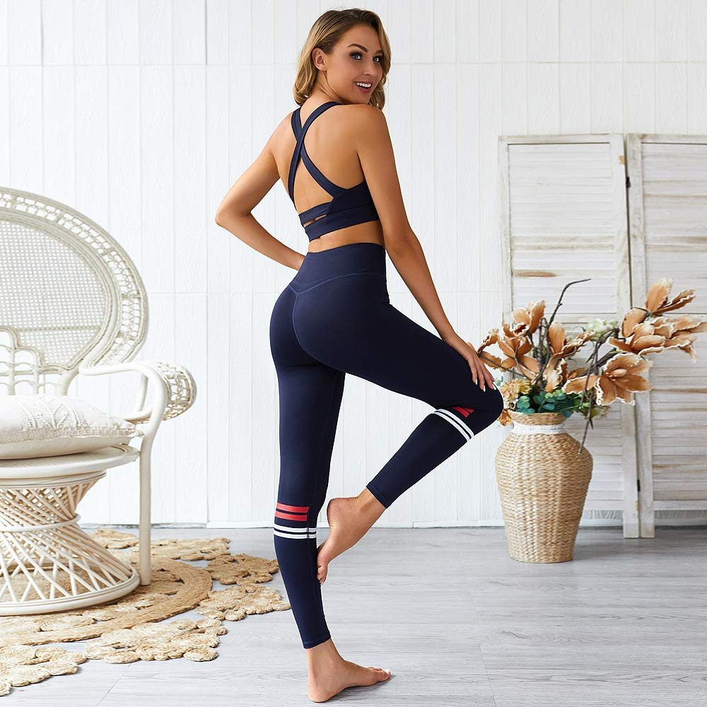 Hotexy Womens Workout Sets 2 Pieces Suits High Waisted Yoga Leggings with Stretch Sports Bra Gym Clothes