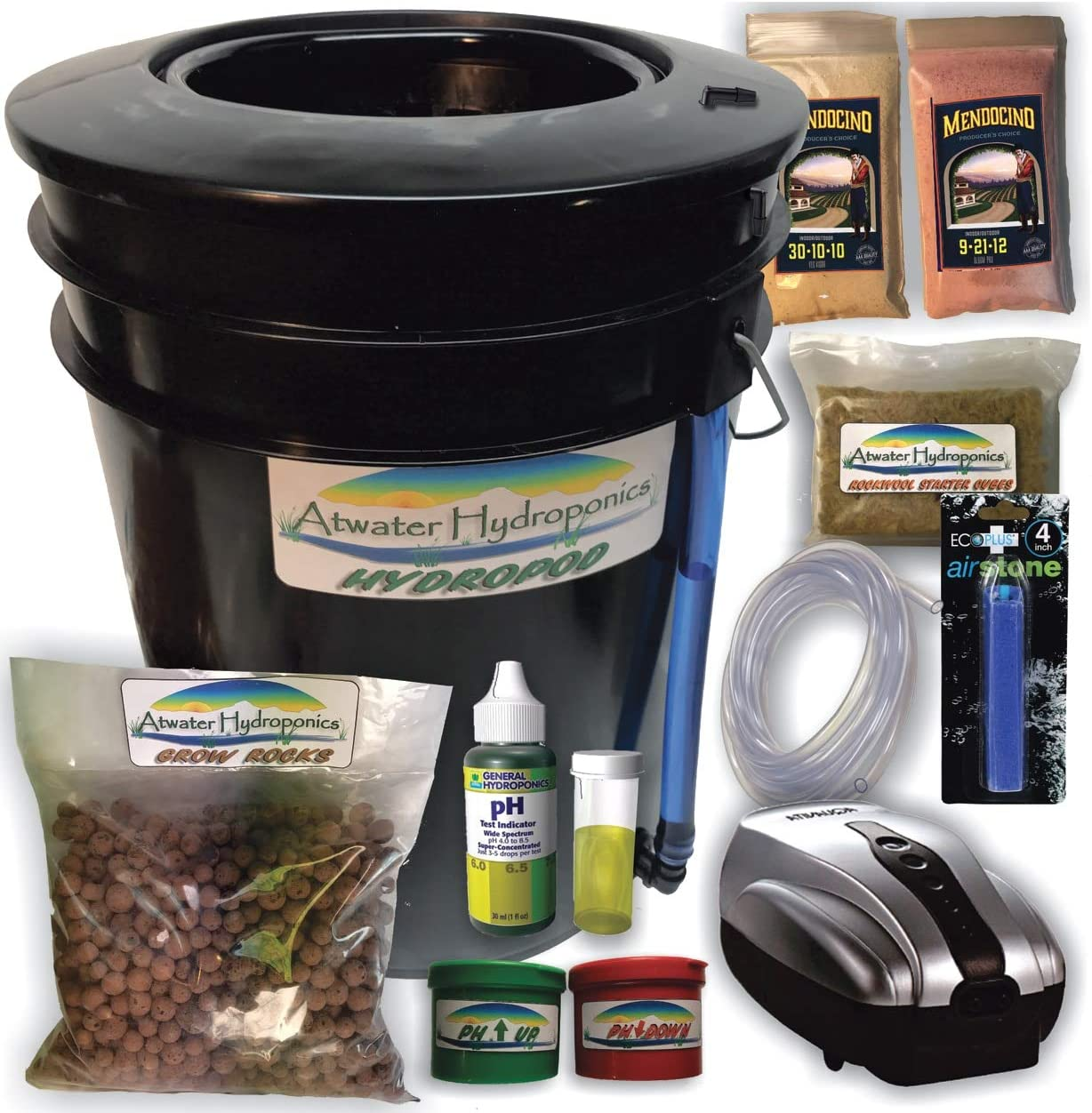 The Atwater HydroPod – Standard A C Powered DWC Deep Water Culture Recirculating Drip Hydroponic Garden System Kit – Bubble Bucket – Bubbleponics – Grow Your Own Start Today