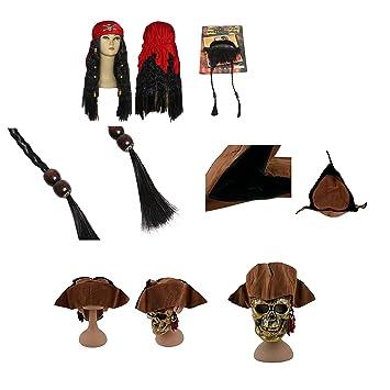 thematys Gorra pirata Jack Sparrow + barba + peluca - Traje pirata para adultos y niños