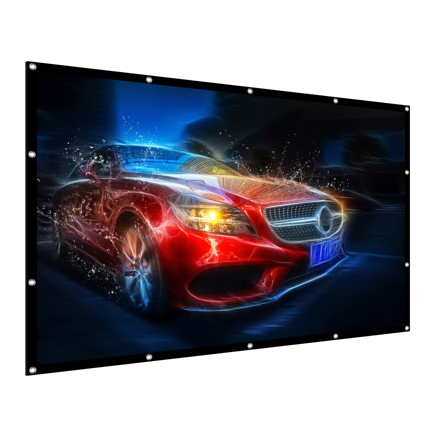 Projection Screen, 100'' 16:9 HD Outdoor Indoor Portable Folding Movie Screen Support Double Sided Projection for Home Theater Presentation Education Public Display etc