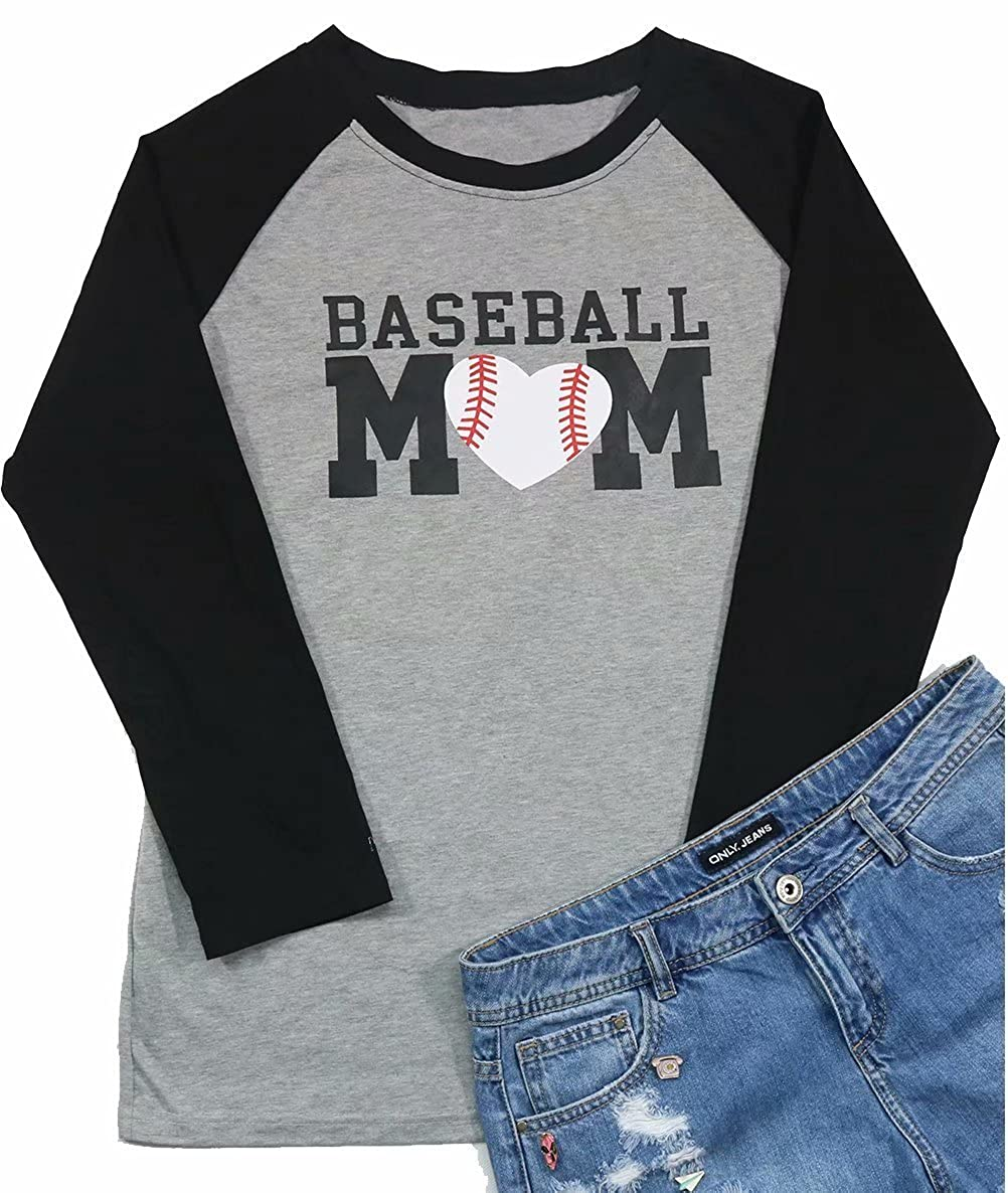 6321c785 ❤Feature: Baseball Mom Tee Shirts For Women, Women Letter Print Raglan  Baseball Tee Shirt Casual, 3/4 Sleeve Raglan Graphic Tee Shirt.
