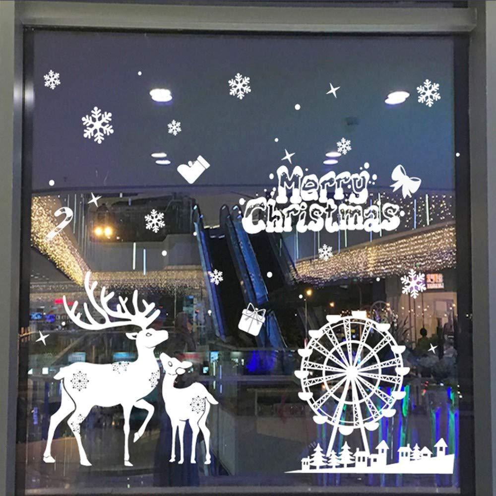 Wall Decal Cute Santa Claus Christmas Self-Adhesive Window Decorations Christmas Decorations Upgrade Stars Christmas Reindeer Stickers Snowflakes Stickers Winter Decoration Christmas Removable