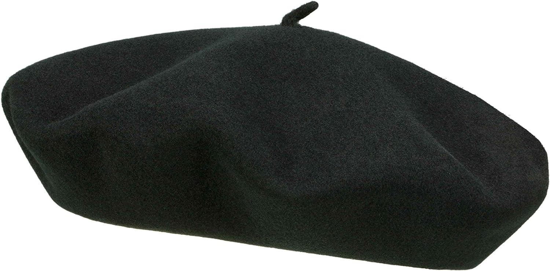 Elosegui Beret Hat 13.5 Inch Large Plate Merino Waterproof Leather Sweatband
