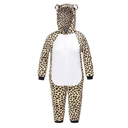 Matt Viggo Kinder Schlafanzug Mädchen Jungen Pyjama Unisex Jumpsuit Onsie Strampler Tiere Kostüm Fasching Overall Hausanzug