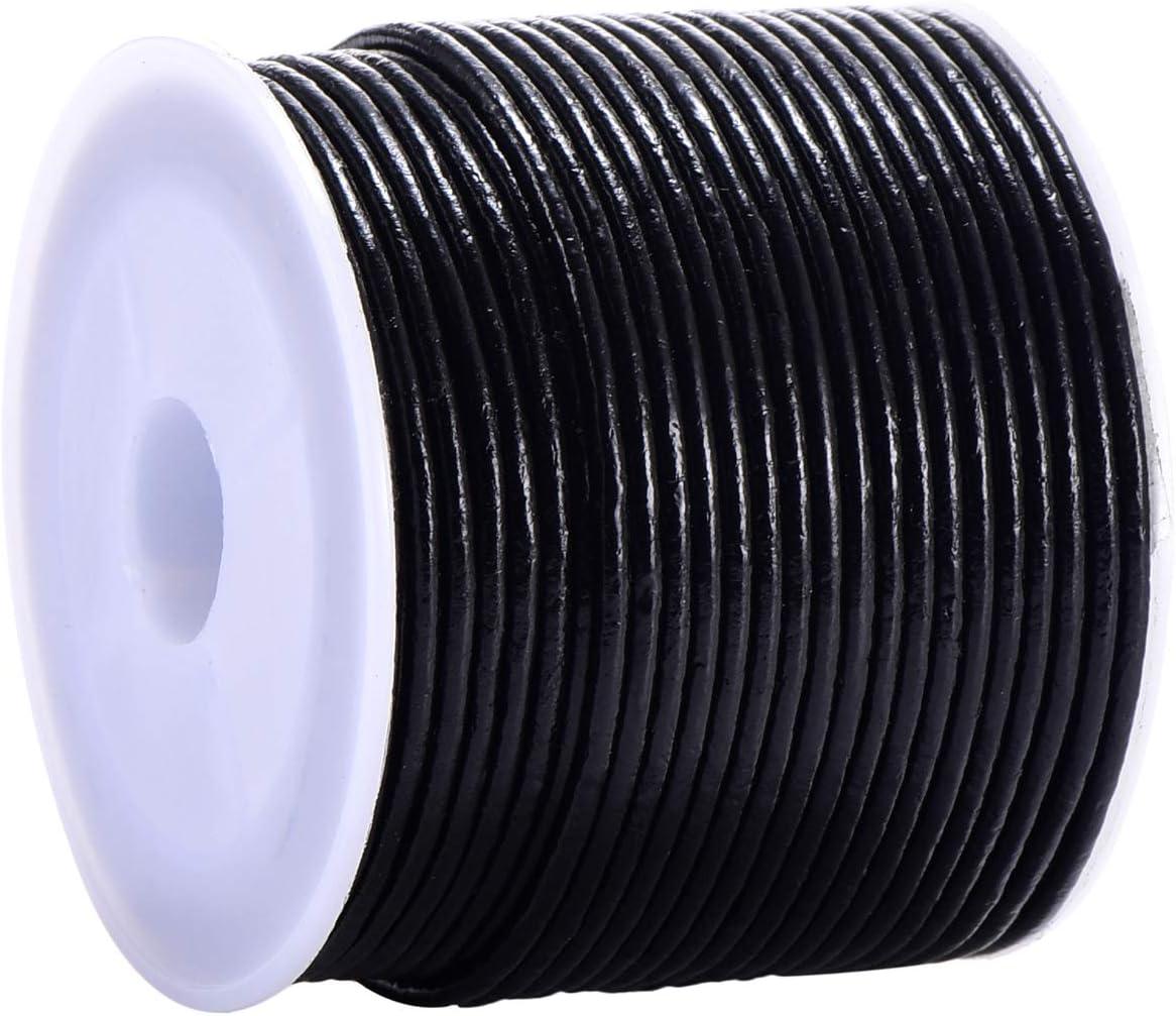 DonDon Cinta de cuero negro - DIY Rollo de 15 metro 2 mm de ancho