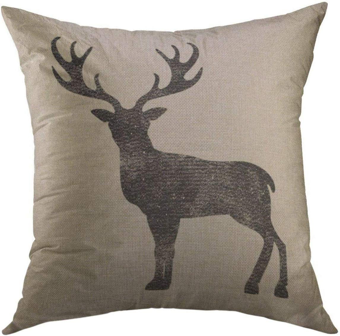 Mugod Decorative Throw Pillow Cover for Couch Sofa,Vintage Stag Black Deer Antlers Home Decor Pillow Case 18x18 Inch