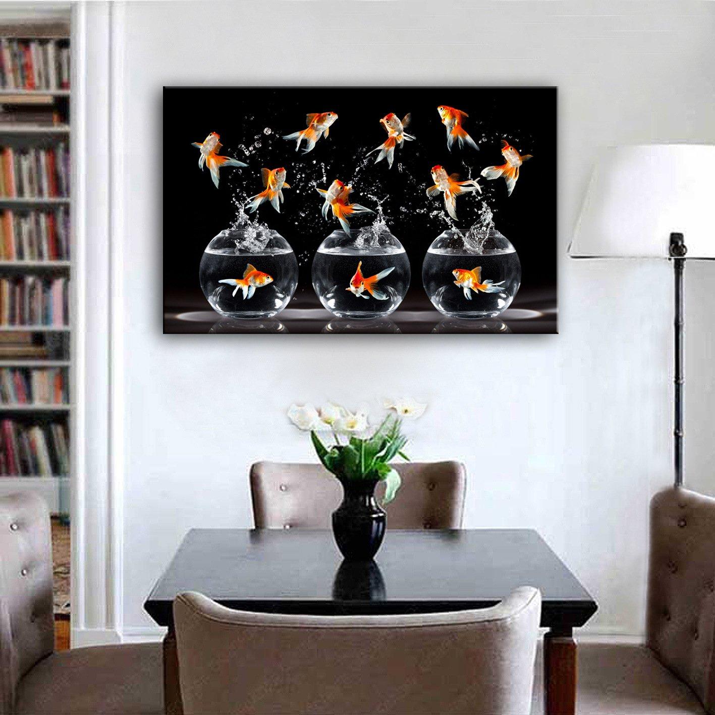 TT&ZHUANGSHI Ausgestreckte Leinwand-Kunst, die eine Goldfisch-Dekoration-Malerei aufprallt, 50  70 B077YNNFDC  | Elegante Form