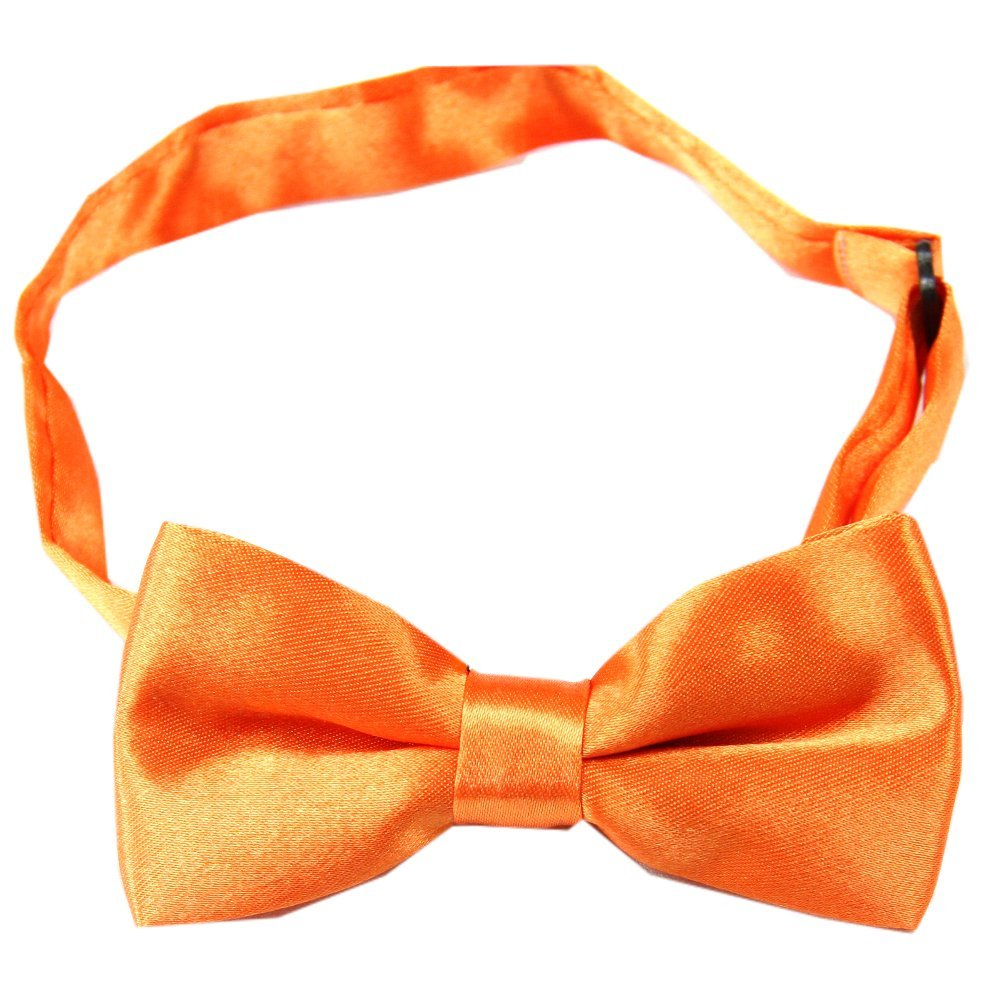 Enwis kids Bow Tie Pre Tied Wedding Party Solid Orange BC22